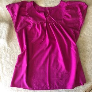 Summer Blouse with Lace cutout sleeve in Fuschia